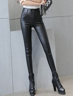 Women's Solid Black Skinny Pants Sexy / Street chic Casual High Waist Fashion Slim Thin Fall / Winter PU 5321888 2017 – €19.59