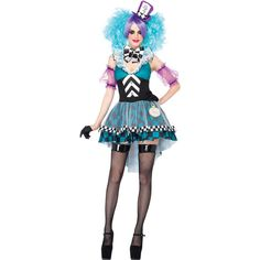 Light Blue Crazy Mad Hatter Costume (510 ZAR) ❤ liked on Polyvore featuring costumes, white wig costume, mad hatter halloween costume, mad hatter costume, white costume and wig costumes