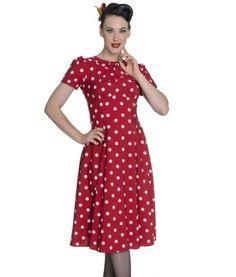 1940s Tea Dress Red Polka Dot #teadresses #vintage #landgirl #40s #1940s #dresses #fashion #inspiration #damhag #damhagvintagedresses #ww2 #plussize