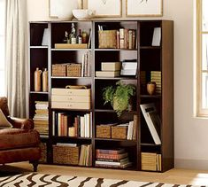Love book shelves with baskets