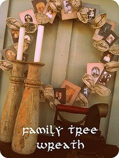 Family Tree Wreath (with vintage photo matte printables)