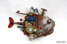 Gerard Collas - Фото Хроники Found Object Art, Found Art, Assemblage Kunst, Wilton, Trash Art, Fish Sculpture, Recycled Art, Metal Art, Altered Art