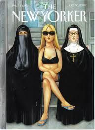 Quite a contrasting topic, having the nuns with the hartlit. The nude woman with the fully clothed woman is very contrasting. The figures are drawn quite cartoon like and simpley drawn which is good.