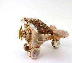 Sea Shell Airplane-Folk Art Plane- Starfish- Whelk-Plane- Beach Wedding- Groom Gift- Seashell-Vintage Figural Seashell Sculpture Nautical