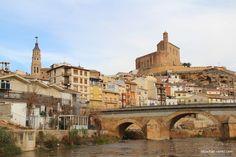 Castle and church over Martin River, Albalate del Arzobispo, Teruel, Spain #idowhatiwanto