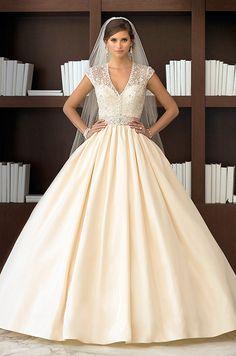 Regal Taffeta ball gown wedding dress with an elegant detachable Diamante beaded jacket. Essense Of Australia, Spring 2014