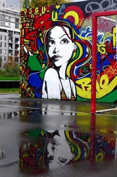 Street Art Reflection-- loving the colors!