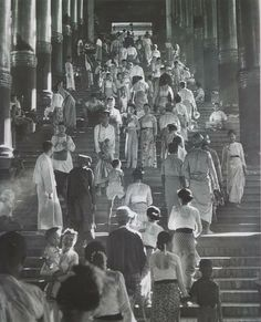 Shwe Dagon front entrance stairs - After WW I