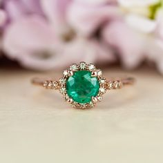 Natural Emerald Ring Rose Gold Ring Halo Engagement by TrudyGems