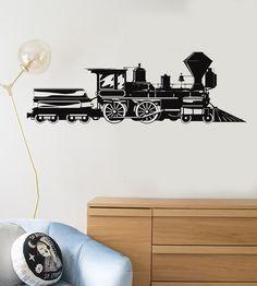 Vinyl Decal Train Locomotive Steam Railway Kids Room Wall Stickers Mural (083ig) Kids Room Wall Stickers, Wall Stickers Murals, Vinyl Decals, Wall Decals, Master Bath Shower, Train Room, Steam Railway, Custom Wall, Locomotive
