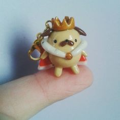 King pug! Made from polymer clay.