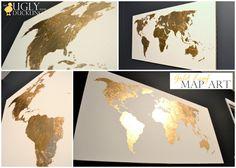 Pinterest Challenge: Gilded Map Art
