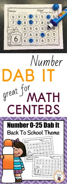 Time to get out the bingo markers! My kids love dab it pages. You kids will too. This number dab it school theme is perfect for your back to school math area. or use wipable markers Numbers Preschool, Math Numbers, Preschool Worksheets, Preschool Learning, Kindergarten Classroom, Teaching Math, Preschool Activities, Group Activities, Leadership Activities