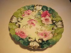 Ornate Antique RS Prussia Pink Flowers & Molded Flowers Decorated Plate #RSPrussia