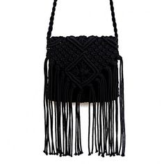 Yoins Beach Crochet  Knotted Fringed Crossbody in Black (1.330 RUB) ❤ liked on Polyvore featuring bags, handbags, shoulder bags, black, crossbody handbag, zipper purse, woven purses, crochet crossbody and zip purse