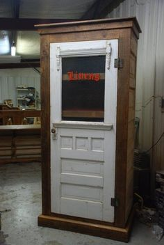 Linen closet made from old doors.Wanna make something similar for laundry room.