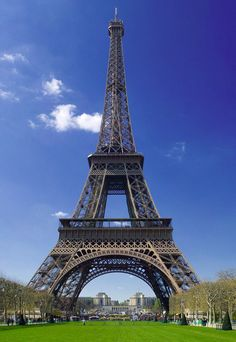 Eiffel Tower, by Gustave Eiffel.   Largest iron construction in the world. Erected for the Paris International Expo of 1889.