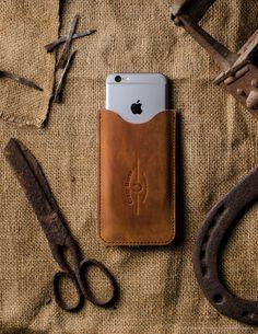 Leather Orange iphone 6s Case wool felt handmade front