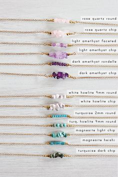 Gemstone Bar Necklace - Gemstone Necklace - Birthsone Necklace - Tiny Gemstone Necklace - Crystal Bead Bar Necklace - Crystal Necklace - List of the most beautiful jewelry Gemstone Necklace, Crystal Beads, Gemstone Jewelry, Beaded Jewelry, Handmade Jewelry, Crystal Necklace, Handmade Gifts, Crystal Bracelets, Jewelry Necklaces