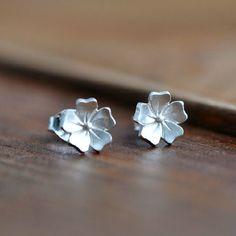 Handmade Sterling Silver Flower Earring, 925 Silver Sakura Ear Studs, Teenage, Valentine, Bridemaid, Bridal, Wedding, Gift