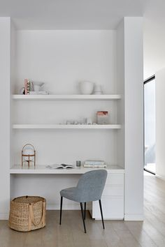 Creating Living Areas that Last. Study Nook, Quay Armless Dining Chair by King living Desk Nook, Office Nook, Home Office Space, Home Office Design, Home Office Decor, Home Interior Design, Home Decor, Hallway Office, Office Chairs