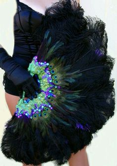 Burlesque Showgirl Jeweled PEACOCK Ostrich by sajeeladesign Burlesque Party, Burlesque Outfit, Burlesque Costumes, Dance Costumes, Halloween Costumes, Hand Held Fan, Hand Fans, Emilie Jolie, Moulin Rouge Costumes