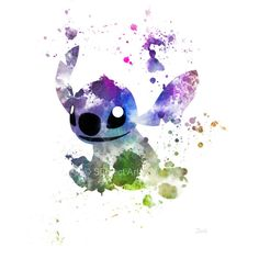 Stitch ART PRINT illustration, Lilo and Stitch, Disney, Wall Art, Home... ($13) ❤ liked on Polyvore