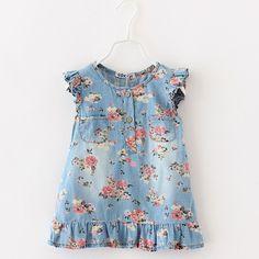 Estampado de flores vestido de niña vestidos de Jean denim flor ropa para niños estilos de ocio vestido de 2015 del Verano del niño Marca