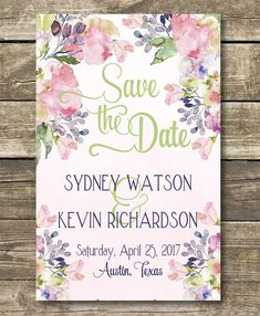 Floral Save The Date  Floral Wedding  by magnoliapapersandco