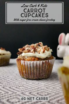 Low carb carrot cupcakes with a sugar free vanilla and clove cream cheese frosting. You don't need to be a baker to make this Easter dessert. These carrot cupcakes are simple and rewarding! With just 4g of net carbs you can truly enjoy a low carb holiday treat without the guilt! Cupcake Cream, Cupcakes With Cream Cheese Frosting, Low Sugar Desserts, Dessert Recipes, Low Carb Carrot Cake, Carrot Cake Cupcakes, Keto Friendly Desserts, Holiday Treats, Low Carb Recipes