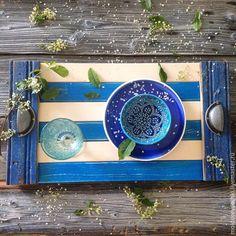 Купить поднос деревянный Морской - синий, поднос, поднос деревянный, поднос ручной работы