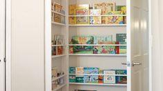 Book shelves behind door