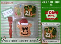 {Advent School Lunch, Christmas Countdown!}  ♫♬ I want a hippopotamus for Christmas ♪♫