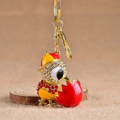 Creative 4color Small Cock Keychain Car Key Chains Crystal Charm Bag Pendant Gift Cock Christmas Gift Chicken Key Chain Chaveiro