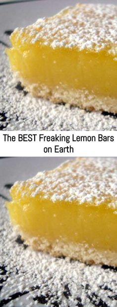 The BEST Freaking Lemon Bars on Earth – Sanji Recipe - food/recipes :) - Desserts Lemon Desserts, Köstliche Desserts, Lemon Recipes, Baking Recipes, Cookie Recipes, Lemon Bars Cake Mix Recipe, Recipes For Lemons, Lemon Cookie Recipe, Lemon Cake Bars
