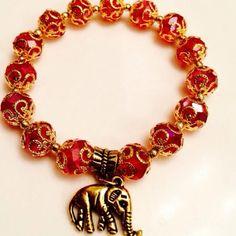 ❤️Handmade Crystal Lucky Elephant Charm Bracelet Crystal Handmade Charm Bracelet with Lucky Elephant to Ward Off Evil Energy. NEW Handmade Jewelry Bracelets