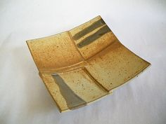 Handmade pottery square serving dish - Butternut   GiftedPottery.com