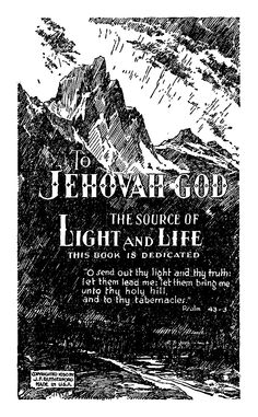 To Jehovah God The Source Of Light And Life, Published 1930
