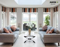 Fabric shades - striped. Contemporary. Architect Simon James' Art and Crafts Interpretation Living Room.