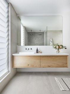 Contemporary bathroom with navy subway herringbone feature wall and grey tiles, custom timber vanity and sleek tapware Best Bathroom Designs, Bathroom Trends, Bathroom Interior Design, Bathroom Renovations, Home Remodeling, Remodel Bathroom, Modern Interior, Budget Bathroom, Decorating Bathrooms