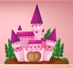 A fairy tale wall sticker illustrating a pink castle where the princess lives! Superb castle decal to decorate your daughter's bedroom! Let their imagination flow with this wonderful design that will create a magical atmosphere. #Girls #Decoration #Imagination