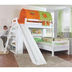 Spielbett Sky - mit Rutsche, Regal, Tunnel und Tasche - Buche massiv weiß/Textil grün-orange   Home24