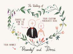 Printable Custom Portraits Wedding Invitation   por PaperPlants, $120,00