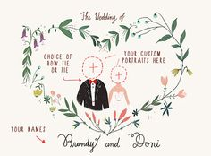 Printable Custom Portraits Wedding Invitation by Paper Plants $120 via @Etsy @gifts #wedding #bride #groom