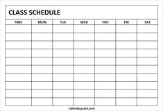 Free blank printable class schedule template for preschool kids, middile school, college students. Get weekly class timetable hourly planner for teachers. School Schedule Printable, Class Schedule Template, Timetable Template, Student Planner Printable, Schedule Design, Study Schedule, Planner Template, Notes Template, Timetable Planner