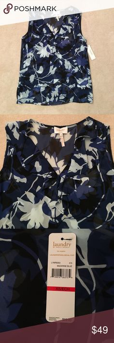 Sheer Floral Top NWT! Laundry by Shelli Segal sheer sleeveless floral top with ruffle vneck neckline. The black, royal blue and light blue printed floral design is fun and sophisticated. Lightweight and flowy, great for the spring and summer!  Pair with a cardigan or jacket for the cooler months. Size is XS. 100% polyester. Features hanging straps. Please ask if you have any questions! Laundry By Shelli Segal Tops Blouses