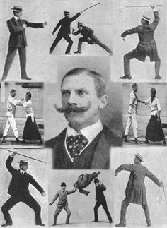 "E.W. Barton-Wright, with a montage of Bartitsu self defence techniques.  ""After some 15 years of hard work, such a system has been devised by a Swiss professor of arms, M. Vigny. It has recently been assimilated by me into my own system of self –defence called Bartitisu."""