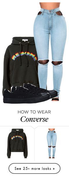 """""""Untitled #1704"""" by dogs109 on Polyvore featuring RE/DONE, WithChic and Converse"""