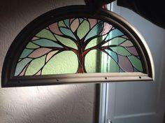 Stained glass front door insert by Ellen Serrano