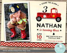 FIRETRUCK INVITATION Firetruck Birthday Party Fire Truck Vintage - Fireman invitation - Fire Engine Firetruck party Photo Chevron Printable